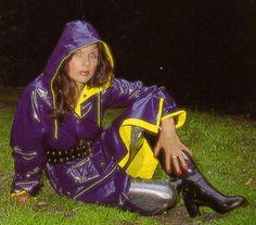 Purple PVC Hooded Raincoat