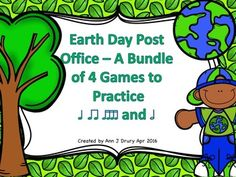This Earth Day design version of my post office series contains 4 games, each with 12 different rhythm patterns:  Game One - Quarter notes (ta) and paired eighth notes (ti-ti) Game Two - Quarter rest (ta rest) Game Three - Half notes (ta-a) and Game Four - Sixteenth notes (ti-ka-ti-ka)  Students could work in small groups or as individuals.  Could also be used as a rhythmic composition activity.