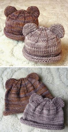 Itty Bitty Bear Cubs - Free Pattern Free Knitting Pattern Record of Knitting Yarn spinning, weaving and sewing careers such as BC. Baby Hat Knitting Pattern, Baby Hats Knitting, Knitting For Kids, Knitting For Beginners, Loom Knitting, Knitting Patterns Free, Knit Patterns, Free Knitting, Knitting Projects