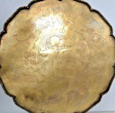 Vintage Brass Tooled Chinese Dragons Symbol Made in China inch Round Tray Chinese Dragon Symbol, Round Tray, Silver Plate, Bronze, Brass, Symbols, Stainless Steel, China, Wonderful Things