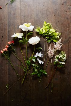 Flower-Arranging Secrets Straight From A Brooklyn Florist #refinery29  http://www.refinery29.com/diy-wedding-bouquets#slide9  The Romantic Bouquet  (L to R) Spray rose Peonies Euonymus (not used in bouquet)  Clematis Astilbe Lace cap hydrangea