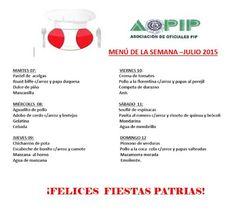 PROMOCION DE OFICIALES PIP: EL MENÚ DE LA SEMANA AOPIP