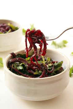 Roasted Beet Noodles with Pesto and Baby Kale  / #lowcarb shared on https://facebook.com/lowcarbzen
