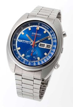 The Seiko 5 Sports Speed Timer 1969 beat its Swiss competitors to the market Bulova Mens Watches, Rolex Watches For Men, Fine Watches, Cool Watches, Luxury Watches, Wrist Watches, Cheap Designer Watches, Best Swiss Watches, Seiko 5 Sports