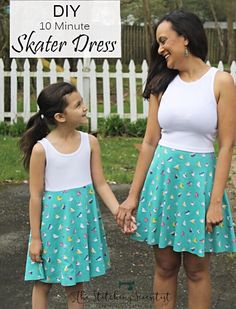 Here is a quick DIY 10 minute Skater Dress tutorial that you can sew in a jiffy for you and the little lady in your life this spring. Sewing Patterns Free, Free Sewing, Sewing Tutorials, Clothing Patterns, Girls Dress Patterns Free, Sewing Tips, Sewing Hacks, Skirt Patterns, Sewing Blogs