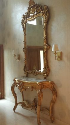 Italian Gilt Decorated Console Table u0026 Mirror & French Rococo Gilt Console Table Mirror | ROCOCCO | Pinterest ...