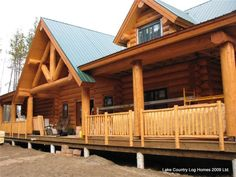 Syphon Creek Front Elevation of Log Home Log Cabin Homes, Log Cabins, Mountain Cabins, Porche Chalet, Cabins And Cottages, Front Elevation, My Dream Home, Dream Homes, Cozy Cabin