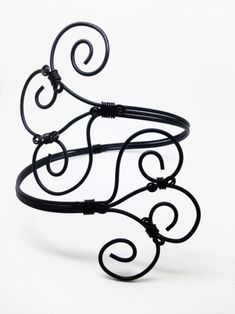 Upper Arm Cuffs, Black Bracelets, Arm Candy, Wire Wrapped Bracelets, Adjustable Arm Cuffs, Gothic Bracelets, Statement Jewelry