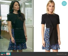 Joan's blue floral dress with black overlay on Elementary. Outfit Details: https://wornontv.net/62415/ #Elementary
