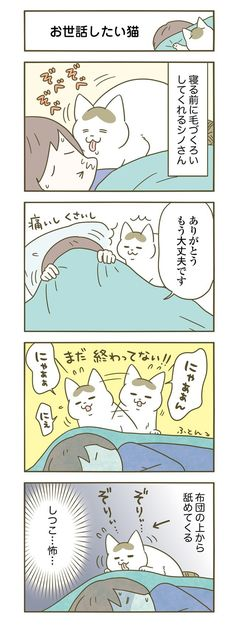 Animal Pictures, Cute Pictures, Cat Comics, Comic Strips, Funny Cats, Dog Cat, Animals, Japan, Illustrations