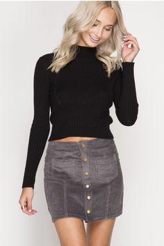 d9aa6e42fd0712 Shop Michigan   Madison · Grey Button Up Mini Skirt Button Up Skirts