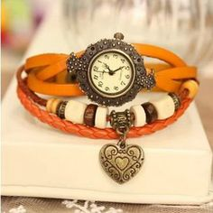 Classic Retro Style Round Case With Heart Pendant Women Leather Bracelet Watch - USD $44.99