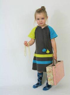 Girls knit dress - Dark grey, yellow, blue £35.00