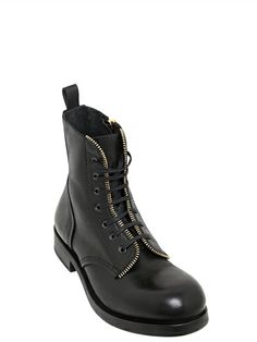 ALEXANDER MCQUEEN - ZIPPED CALF LEATHER BOOTS - LUISAVIAROMA - LUXURY SHOPPING WORLDWIDE SHIPPING - FLORENCE