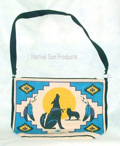 """Purse Handbag Howling Wolf Southwestern Cotton Canvas 13x19"""" Zips close This purse features a howling wolf in the center on a crisp blue background. #21.95 w/ free shipping w/ in USA #purse #handbag #wolf  #ShoulderBag"""