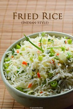 Indian style Fried Rice More, Rice Recipes Veg Recipes, Indian Food Recipes, Asian Recipes, Vegetarian Recipes, Cooking Recipes, Indo Chinese Recipes, Cooking Dishes, Indian Snacks, Cooking Games