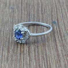 Blue Topaz and White Topaz 925 Silver Modern Jewelry Beautiful Ring Size 8 #Silverjewelrydoctor #Ring