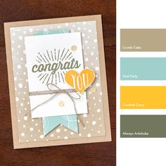 Crumb Cake, Pool Party, Crushed Curry & Always Artichoke #StampinUpColorCombos