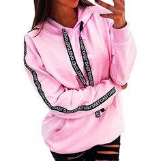 Free Venus Pullover Damen Schwarz Sweatshirts für Damen Kapuzenpullover  Frauen Gestreift Langarm mit Kapuze Pullover Tops Shirt lose Bekleidung ... b977b5fe8f