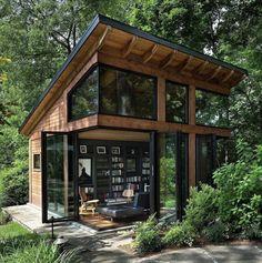 Architect: Bulent Baydar of Harrison Design. Builder: Harris Custom Homes. Tiny House Cabin, Tiny House Living, Tiny House Design, Tiny Cabins, Cabin Design, Wood House Design, Modern Tiny House, Diy Design, Modern Wood House