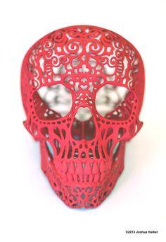 Crania Anatomica Filigre 3d printed skull: red