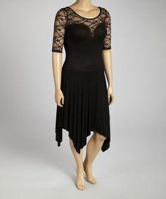 Loving this Black Lace Handkerchief Dress - Plus on #zulily! #zulilyfinds