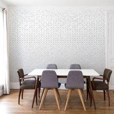 Modular wallpaper 182x280 cm - 2 strips Blue gray Well Done