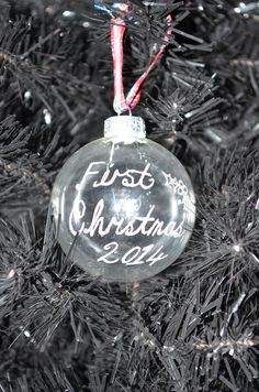 First christmas engraved glass bauble