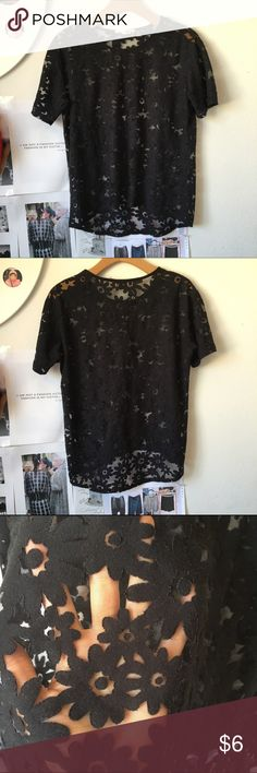 Floral print see though T shirt Black see though Top Tops Tees - Short Sleeve