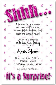 Adult Birthday Invitations Shhh Hot Pink Polka Dot Surprise Party
