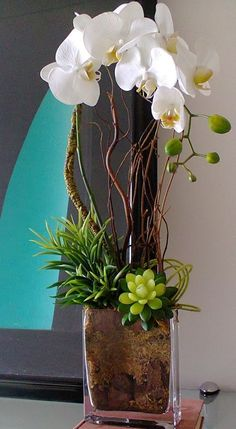 (notitle) - arranjos florais - - New Ideas, You can collect images you discovered organize them, add your own ideas to your collections and share with other people. Arrangements Ikebana, Tropical Flower Arrangements, Modern Floral Arrangements, Artificial Floral Arrangements, Artificial Orchids, Tropical Flowers, Orchid Centerpieces, Deco Floral, White Orchids