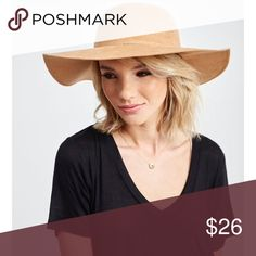 """NWT faux suede floppy hat with band in cognac Brand new 24""""circumference 4"""" brim Accessories Hats"""