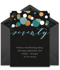 Customizable, free Seventy online invitations. Easy to personalize and send for a 70th birthday party. #punchbowl