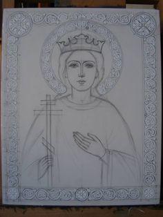 Halo and border design. Byzantine Art, Byzantine Icons, Religious Icons, Religious Art, St Catherine Of Alexandria, Principles Of Art, Prayer Flags, Celtic Art, Ornaments Design