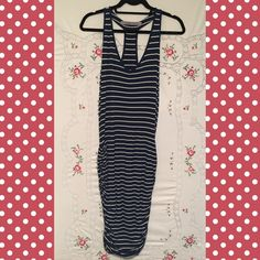 """ATHLETA Ruched Summer Dress ATHLETA blue and white striped summer dress with ruching and lots of stretchy flair! Length is approximately 40"""" Athleta Dresses"""