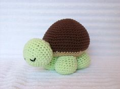 Crochet Turtle Stuffed Animal in Green and Brown, Crochet Animal, Sea Turtle Plush, Stuffed Turtle, Turtle Nursery Decor