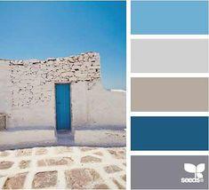 Santorini - VC little boy blue, white, linen, sapphire, silver grey