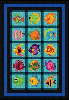 Use applique quilt patterns to create a decorative flourish on your lap quilts, wall hanging quilts, and more. You'll love the variety of these applique patterns. - Page 9 Fish Quilt Pattern, Applique Quilt Patterns, Cat Pattern, Quilt Baby, Boy Quilts, Quilting Projects, Quilting Designs, Quilting Ideas, Animal Quilts