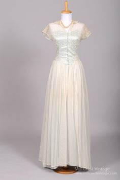1940's Blue Silk Taffeta & Embroidered Lace Vintage Wedding Gown