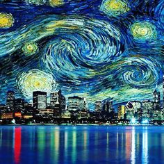 Starry Night Chicago This image is available on Amazon in poster and canvas form. Interested? http://amzn.to/2hZrSoW http://amzn.to/2hLJGDz
