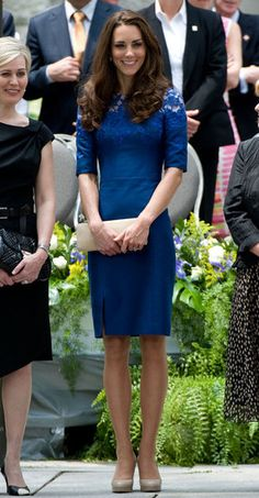 During the royal duo's tour through North America, Kate wore a blue lacy Erdem dress and beige L.K. Bennett pumps for a morning prayer service in Quebec City.