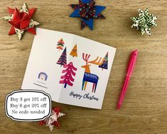 2. Scandi Stag Christmas Card. Printable. Easy to print. image 1