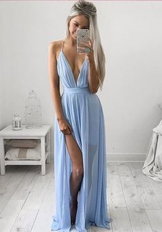 V neck Simple A-line chiffon backless long blue prom dress ,beautiful evening dress Cheap prom dress