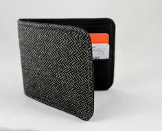 Men's Wallet Grey Herringbone Wool 5 Pocket Minimalist Billfold ($16.80) - Svpply