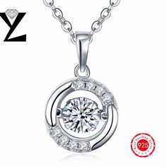 YL Fashion Pendant with 45 CM Silver Chains Wholesale lots Price 925-Sterling-Silver with Dancing CZ Diamond Mothers Day Gift