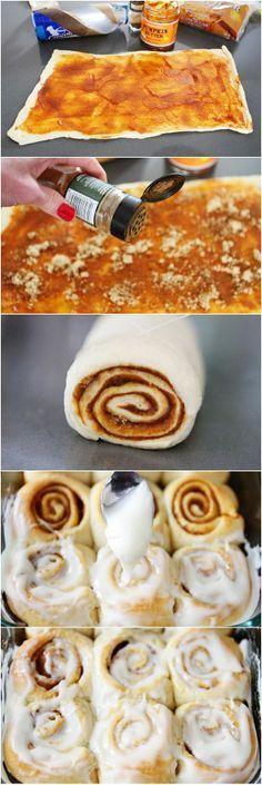 Pumpkin butter cinnamon iced buns / rolls!!!! Hmm also try apple butter and fig butter and peach butter inside.
