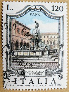 Great italian stamp Italy postage Lira 120 L. Fontana della Fortuna, Fano Regio Marche (fortune water well in Fano City)