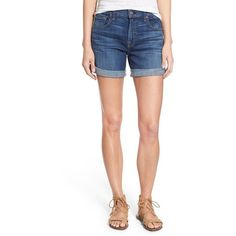 Women's 7 For All Mankind Relaxed High Rise Denim Shorts ($148) ❤ liked on Polyvore featuring shorts, brilliant blue broken twill, short jean shorts, high-waisted jean shorts, cuffed denim shorts, high-rise shorts and high rise shorts