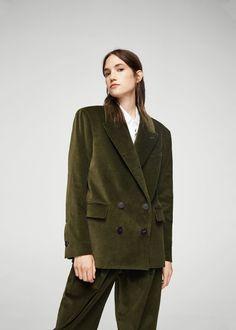 Oversize corduroy blazer -  Women | MANGO USA