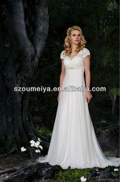 OCW37 Flowing Chiffon Empire Wedding Dress With Sleeves US $165.00